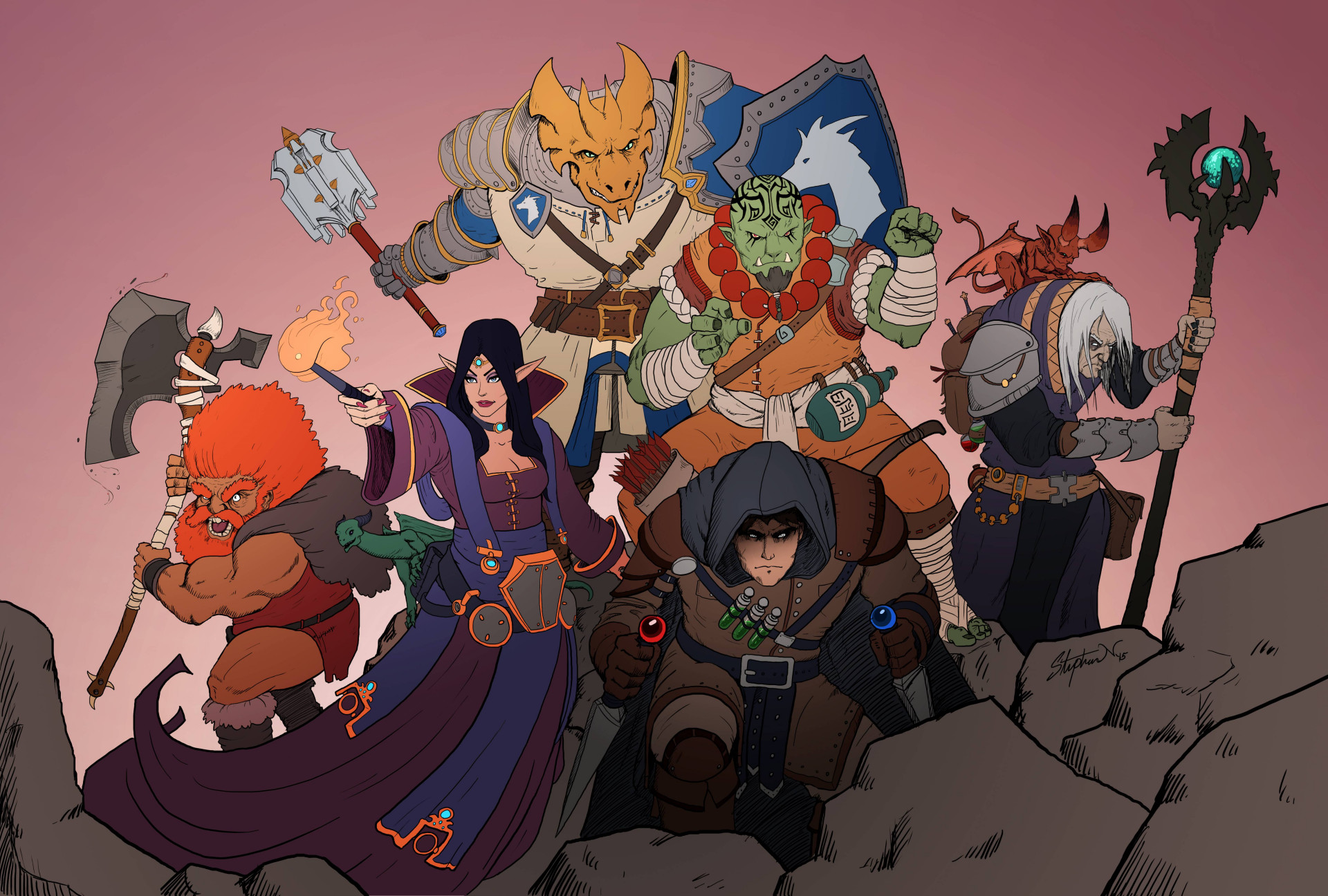 A classic D&D party stands at the ready. The dwarf has really orange hair. Like, really orange.