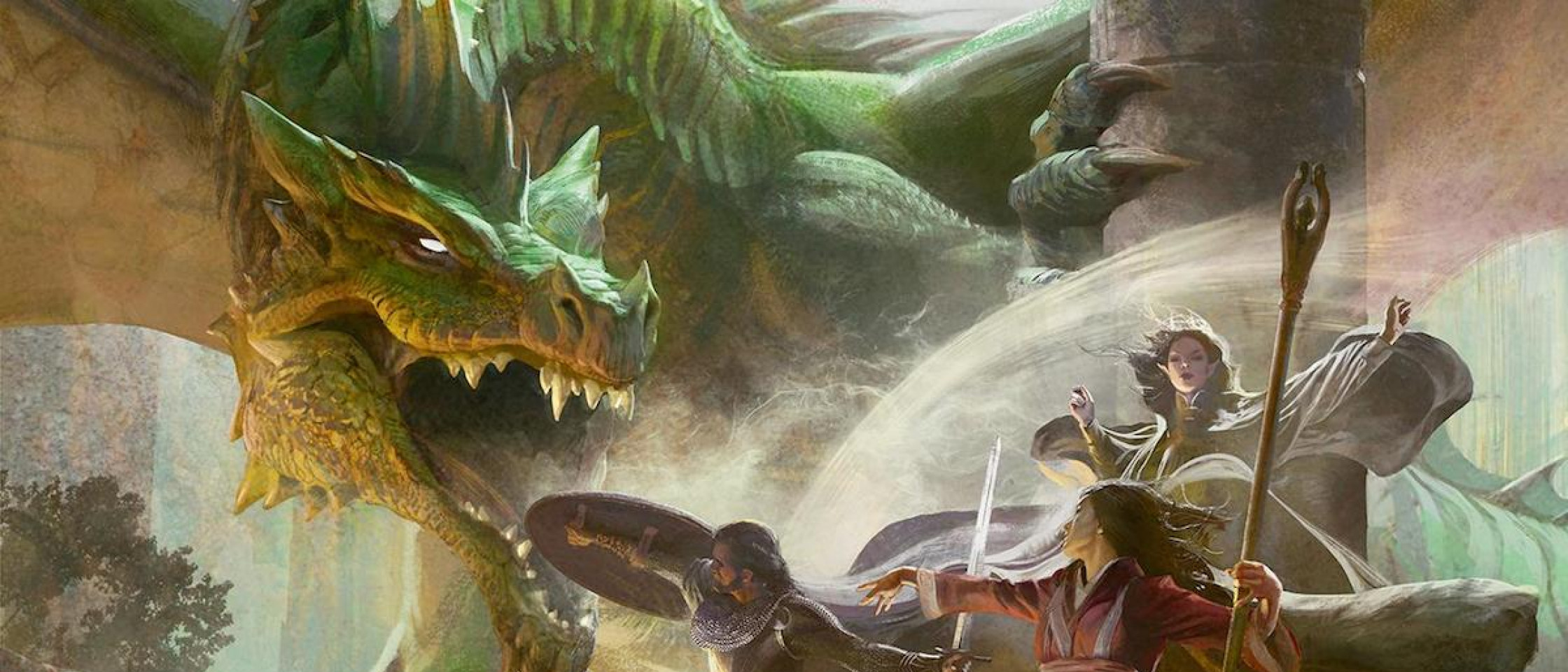 The D&D Starter Set artwork depicting a battle between 3 adventurers and a huge dragon