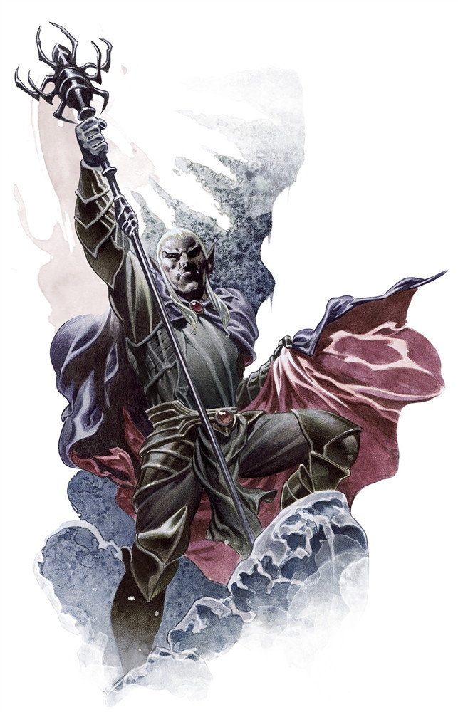 A Drow Mage stands triumphantly on something. A rock? A frozen wave? A cloud? It's not clear, but it's cool.